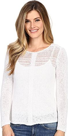 19a5504769 NICZOE Womens Sheer Illusion Top Paper White Sweater XS US 02  gt  gt  gt