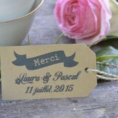 Lot de 10 etiquettes papier kraft mariage dragées - marque-places - personnalisées -sur commande - décoration table - cérémonie - rétro-vintage-campagne-original-tendance