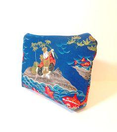 Fabric Pouch Medium Cotton Zipper Pouch by handjstarcreations, $12.00