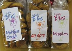 Lovely Bites - labels for Kim Fall's and her delicious line of gluten free healthy cookies!