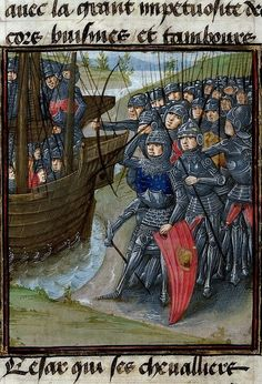 Miniature of an army fighting a fleet. Origin: France, N. (Lille) and Netherlands,S. (Bruges). Attribution: Master of the London Wavrin. Medieval Imago & Dies Vitae Idade Media e Cotidiano.