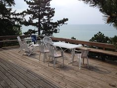 Porter cottage rental - The expansive deck looks out over majestic Lake Michigan and the beach.