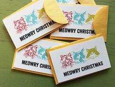 Meowry Christmas card set, $5