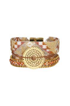 Manchette perles et métal Tenesse Doré Hipanema sur MonShowroom.com