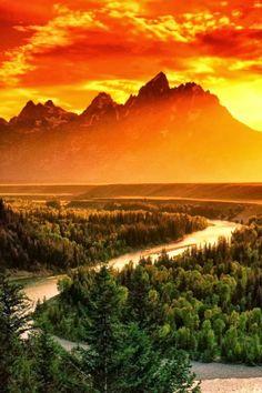 Awe Inspiring Sunset at Grand Teton National Park, Wyoming.