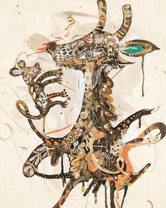 Yusuke Asai Stratum of Living Things 2 2016 h.84.0 x w.59.1 x d.2.7 cm soil on board, color pencil, acrylic-resin