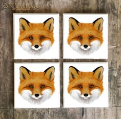 Drink Coaster, Woodland Fox Handmade Design, Ceramic Tiles, Housewarming Gift, Wedding, Wildlife Home Decor, Foxy #woodland #fox #coasters