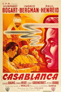 Michael Curtiz's Casablanca debuted on November starring Humphrey Bogart and Ingrid Bergman. Valuable Casablanca movie memorabilia includes one sheet and half sheet posters, lobby cards, pressbooks, autographed movie stills and French, German an Best Movie Posters, Classic Movie Posters, Movie Poster Art, Classic Films, Vintage Movie Posters, Humphrey Bogart, Films Cinema, Cinema Posters, Film Posters
