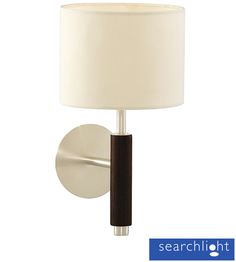 Searchlight 'Nevada' Walnut 1 Light Adjustable Wall Light, Chrome Trim With White Round Shade - 6038-1BK None