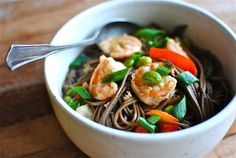 Soba Noodle Soup with Shrimp and Veggies Recipe by Bev Cooks