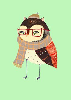 Smart Owl Art Print - Ashley Percival