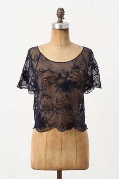 """Vanessa Virginia Bamboo Mesh Top $88 - This Vanessa Virginia's scalloped mesh tee is rife with floral embroidery and stem-inspired openwork; we'd pop it over a strapless dress or skinny cami to add interest and a bit of coverage looks like a traditional clothe of the Philippines called """"Kimona"""" worn by ladies/ Filipinas"""