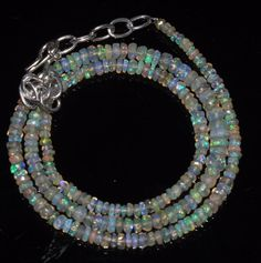 "28 Crts 2 to 5 mm 16"" Faceted Beads necklace Ethiopian Welo Fire Opal RR153"