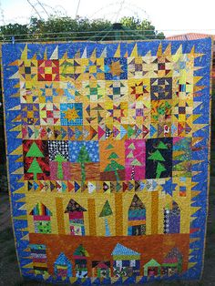 Quilt I made for my son, based on my Freddy Moran and Gwen Marston book, Collaborative Quilting.