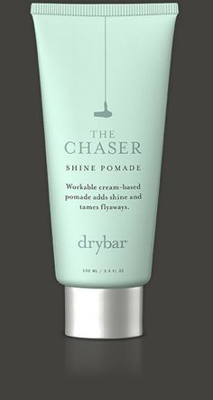 "THE CHASER  Pre-Order! Shine Pomade    Adds texture, pieciness and shine.    Instantly smooths hair to prevent frizz and flyaways.  Protects hair from dryness so ends look fresh and polished.  Softens and improves hair quality.  Essential for achieving the popular ""messy, beachy look"" like our Mai Tai.  Price: $28"