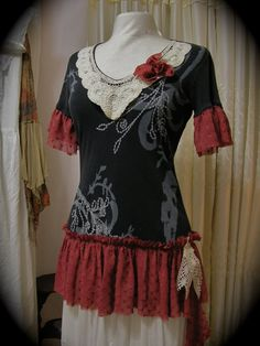Gypsy Princess Top, romantic tattered bohemian shirt, embellished upcycled altered clothing, earth tones, MEDIUM