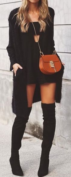 Women's fashion | Cut out little black dress, black cardigan and over the knee boots