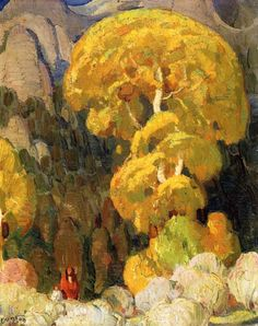 William Herbert Dunton (1878 – 1936) Cottonwood in the Indian Canyon Source: chasingtailfeathers