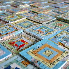 """""""3D Map Quilt""""  mixed media on canvas"""