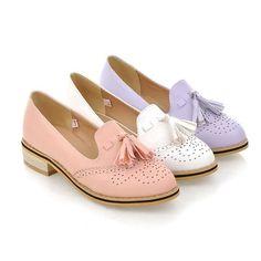 Tassel Women Pumps Thick Heel Shoes 7026