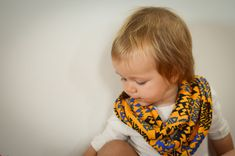 Golden Yellow, Blue, and Black Tribal Infinity Scarf - Baby, Toddler, Child - One Size Fits Most - Matching Sailor Knot Headband Option!