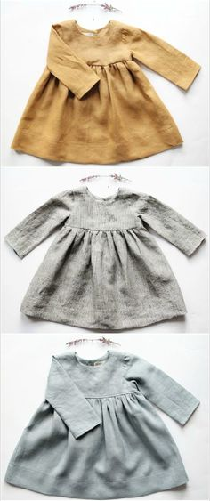 Handmade Long Sleeved Linen Baby Toddler Dresses | BloomingKiwi on Etsy