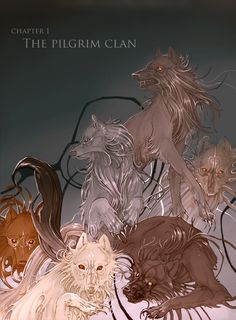 Off-White comic. Chapter I's old cover art – The Pilgrim Clan. Jessi Derenthal, Anna Podedworna and Katarzyna Redesiuk. Off White Comic, Wolf Comics, Fantasy Wolf, Wolf Pictures, Fantasy Comics, Anime Wolf, Pilgrim, Fantasy Creatures, Animals Beautiful