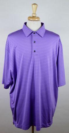 Footjoy Men's Size XXL 2XL Short Sleeve Purple White Striped Polyester Golf Polo #FootJoy #PoloRugby