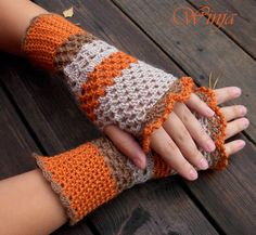 Crochet fingerless gloves, arm warmer, knitted mittens, autumn gloves, lace gloves, boho gloves, crochet mittens, hand knit orange gloves - pinned by pin4etsy.com
