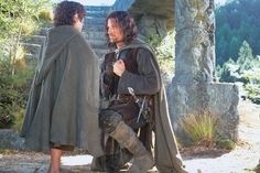 Elijah Wood and Viggo Mortensen in Lord of the Rings. For a chance to meet him, vote for Viggo Mortensen at http://CelebCharityChallenge.org !