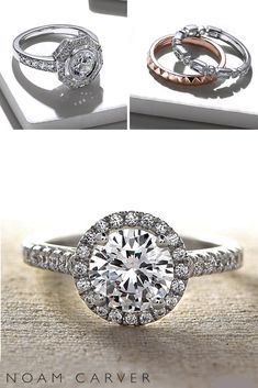 rings 2017 pave band round cut diamond halo unique