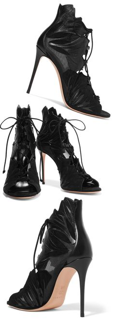 """Casadei Mesh-Paneled Floral Applique Leather And Suede Boots, now 51% Off at the Outnet. Casadei black pumps stiletto boots. Heel measures 4"""". All Leather. Suede and mesh panels, open almond toe. Lace-up front, Made in Italy. #theoutnet #shopping #boots #shoes #affiliatelink #florals #leather #winter #aw17 #sale"""