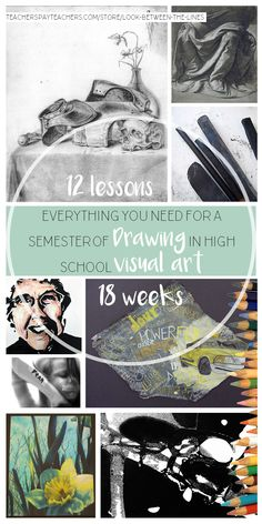 12 drawing lessons in 18 weeks. Everything you need to teach every single day of a semester in high school drawing. # pyp art lessons plan Visual Art Drawing Curriculum, 12 Lessons for 18 Weeks of High School Art Art Education Projects, High School Art Projects, Middle School Art, Art School, Visual Art Lessons, Visual Arts, Art History Lessons, High School Drawing, Design Art Drawing