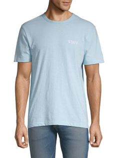 French Connection Graphic Cotton Tee In Skyway Cotton Tee, Cotton Fabric, French Connection, Graphic Tees, Short Sleeves, Mens Fashion, Mens Tops, Clothes, Shopping