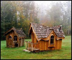 Attractive Garden Playhouses for Children : Heavenly Unique Wood Outdoor…