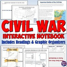 This Civil War Interactive Notebook set features 10 pages of graphic organizers plus online readings students can use to complete the pages! The interactive notebook pages include feature creative foldable templates, timelines, and other graphic organizers to help students better understand the Civi... Civil War Activities, Teaching Activities, Teaching Ideas, Missouri Compromise, Rebus Puzzles, History Teachers, Interactive Notebooks, Graphic Organizers, Civilization