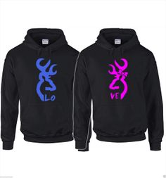 2 matching couples browning hunting deer buck and doe love sweatshirts hoodies on Etsy, $48.99