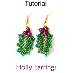 Holly Mistletoe Beaded Earrings Christmas Holiday Jewelry Making Beading Tutorial Pattern Instructions | Simple Bead Patterns