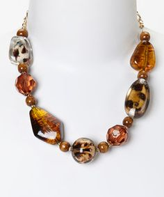 This LOLO by New Dimensions Brown Cheetah Bead Necklace by LOLO by New Dimensions is perfect! #zulilyfinds