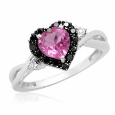 #pinkdiamondengagementrings 10k White Gold Heart Shaped Created Pink Sapphire with Round Black and White Diamond Ring, Size 7 by Amazon Curated Collection http://blackdiamondgemstone.com/colored-diamonds/jewelry/rings/10k-white-gold-heart-shaped-created-pink-sapphire-with-round-black-and-white-diamond-ring-size-7-com/#!prettyPhoto
