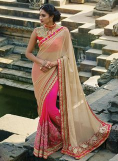 INDIAN PARTY WEAR BEIGE AND PINK COLOR SAREE PRICE-1725/- Whatsap:- 9429509935 PALLU-LAYCRA DUEDROPE GORGET,  SCUT-60GM PEDING GORGETTE,  BLOUSE-ROWSILK&  NET,  WORK: THREDWORK &  SEQUNCE & HAND