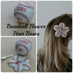 Learn how to make baseball flowers and add them to hair bows or flip flops.