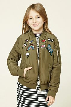 Forever 21 Girls - A woven puffy bomber jacket featuring various patch graphics including a rainbow, watermelon, and butterfly, zip-up front, ribbed trim, two front slit pockets, a zip-up pocket, and long sleeves.