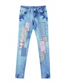 Embroidered Patch Denim Pants