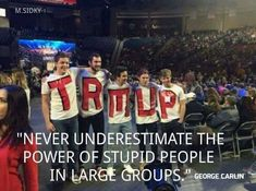"A photograph showing a group of Donald Trump supporters wearing shirts spelling out ""TRMUP"" is fake. Donald Trump Republican, Trump Love, Comic, Stupid People, Hilarious, Funny Shit, Funny Pics, Funny Stuff, Shit Happens"
