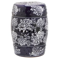 Add a lovely touch to your sunroom or entryway with this chic garden stool, showcasing a whimsical floral motif in navy and white.  ...