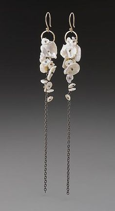 Pearl Cluster Earrings by Peg Fetter: Gold, Silver, & Pearl Earrings available at www.artfulhome.com