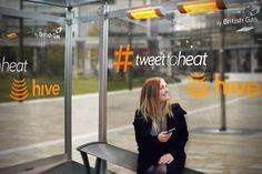 Travellers can stay warm at the station shelter by sending a tweet to @hivehome