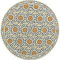 Hand-hooked Majestic Ivory/ Blue Wool Rug (5'6 Round)