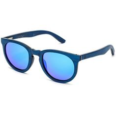 a9413814e8f Chameleon Wood Sunglasses with Interchangeable Lens - Blue Frame with Blue  Mirror Lens
